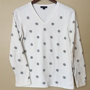 Tommy Hilfiger white v-neck sweater w/ polka dots